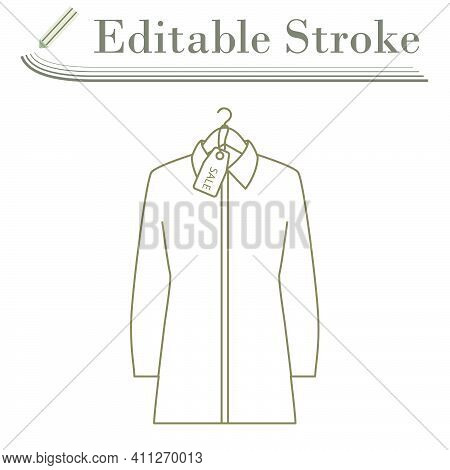Blouse On Hanger With Sale Tag Icon. Editable Stroke Simple Design. Vector Illustration.