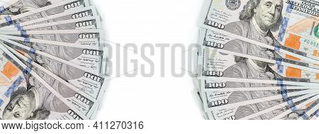 Fan Of Hundred-dollar Bills On A White Background. Banknotes Of One Hundred Dollars Folded Fan. Copy