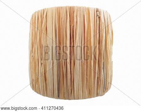 Rustic Wicker Lamp Chandelier. Front View Of Straw Lined Cylinder Isolated On White Background. Cros