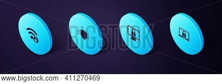 Set Isometric Laptop And Lock, Lock On Monitor, Cyber Security And Wifi Locked Icon. Vector
