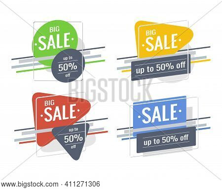 Discount  Banner Set. Text Big Sale, Up To 50% Off. Bright Green, Yellow, Red, Blue Colors. Rectangl