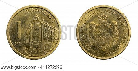 Serbia One Dinar Coin On A White Isolated Background