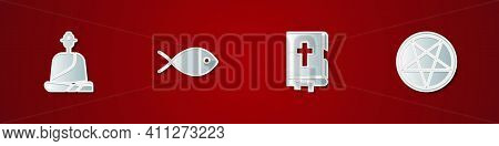 Set Buddhist Monk, Christian Fish, Holy Bible Book And Pentagram In Circle Icon. Vector