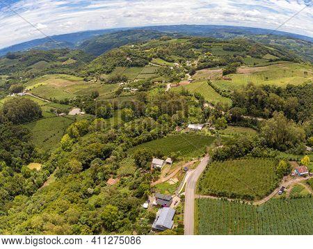 Farms, Vineyards And Road In Valley , Monte Belo Do Sul, Rio Grande Do Sul, Brazil