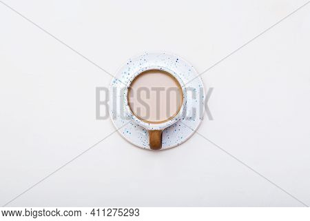 Top View Of Coffee Cup Isolated On White Background. Blue Coffee Cup, Morning Coffee, Cafe Or Barist