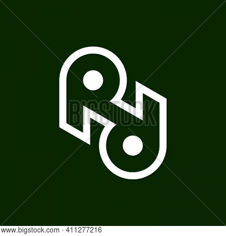 Initial Letter R, Rr Or Rd Logo Template With Geometric Circle Line Art Illustration In Flat Design