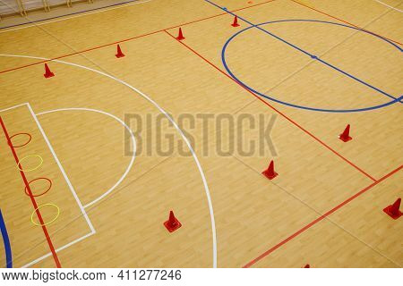 Gym For Playing Futsal, Mini-football. Folded Wooden Parquet On The Field Of Hall For Mini-football.