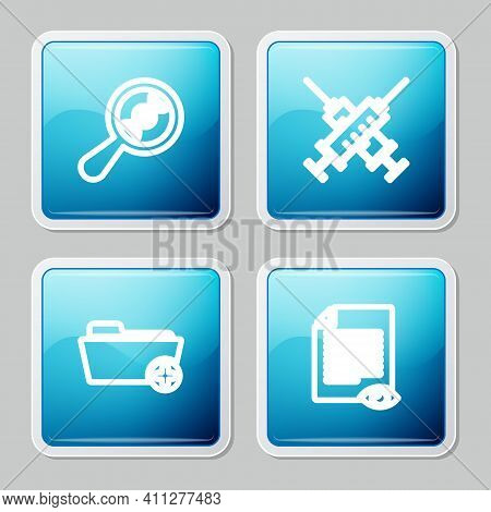 Set Line Dna Research, Search, Crossed Syringe, Health Record Folder And Paper Page With Eye Icon. V