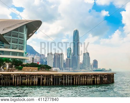 View On The Central District Hong Kong Island And Victoria Harbor, Hong Kong