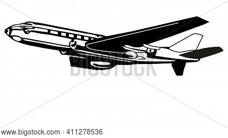 The Drawing Of The Airplane On The White Background