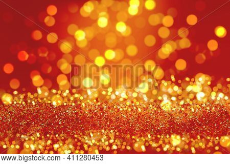 Shiny Background. Beautiful Glowing Bokeh. Bright Glowing Background. Shiny Glowing Effect. Yellow S