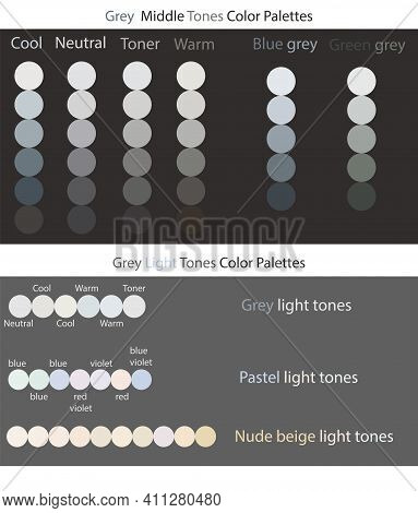 Grey Color Palettes Smooth Gradient Vector Set. Light Pastel Tones. Grey Light Tones. Nude Beige Lig