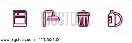 Set Line Kitchen Dishwasher Machine, Trash Can, Shower Head And Dishwashing Liquid Bottle And Plate