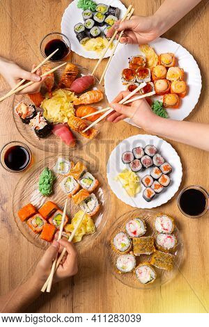 Perfect Family Diner With A Rich And Varied Selection Of Sushi. Various Salmon, Crab, Vegan Rolls, W