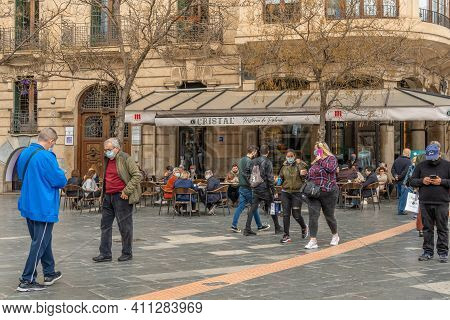 Palma De Mallorca, Spain; March 04 2021: Terrace Of The Famous Bar Cristal In The Historical Center