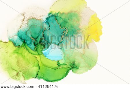 Art Abstract painting green and yellow blots watercolor background. Alcohol ink colors. Marble texture.