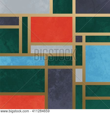 A Artistically Designed Mondrian Composition Designed In An Art Deco Style.