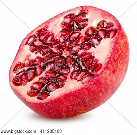 Isolated Pomegranate. Slice Of Fresh Pomegranate Fruit Isolated On White Background With Clipping Pa