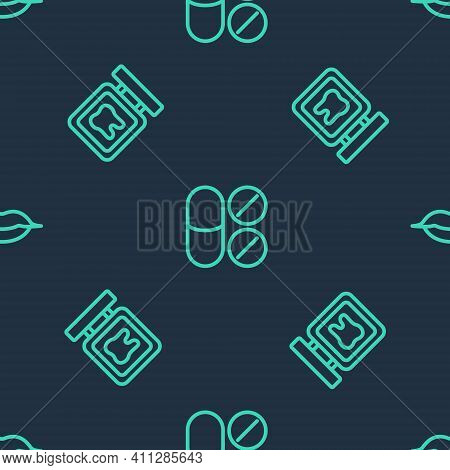 Set Line Painkiller Tablet, Dental Clinic Location And Smiling Lips On Seamless Pattern. Vector