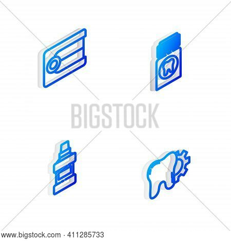 Set Isometric Line Painkiller Tablet, Dentures Model, Mouthwash Bottle And Tooth Treatment Procedure