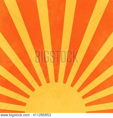 A Simple, Minimalist Style Design Of The Summer Sun With Rays In Yellow And Orange.