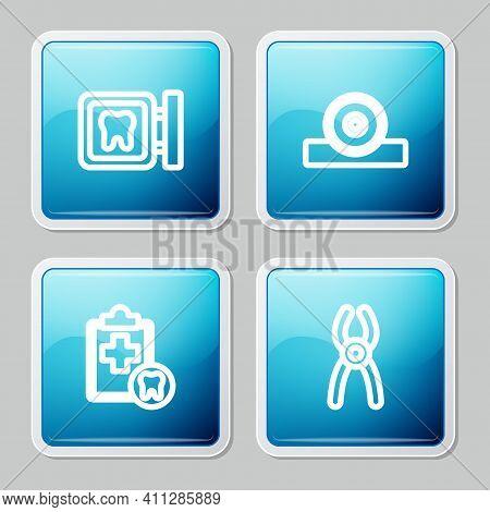 Set Line Dental Clinic Location, Otolaryngological Head Reflector, Card And Pliers Icon. Vector