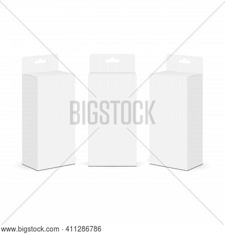 Boxes Mockups With Hang Tab Isolated On White Background, Front And Side View. Vector Illustration