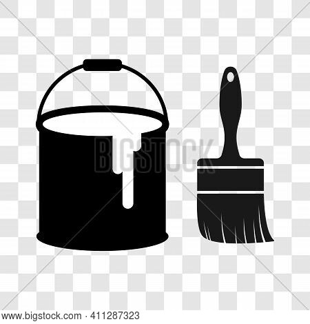 Black Paint Can And Brush Logo. Vector Illustration Liquid Color Bucket Container With Paintbrush Ic