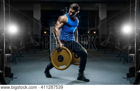 Handsome Young Fit Muscular Caucasian Man Of Model Appearance Workout Training In The Gym Gaining We