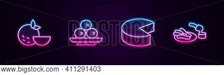 Set Line Orange Fruit, Olives On Plate, Cheese And Churros And Chocolate. Glowing Neon Icon. Vector