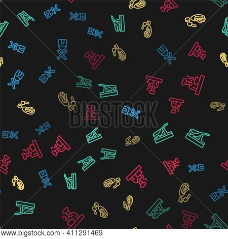 Set Line Windmill, Spanish Jamon, Churros And Chocolate And Cook On Seamless Pattern. Vector