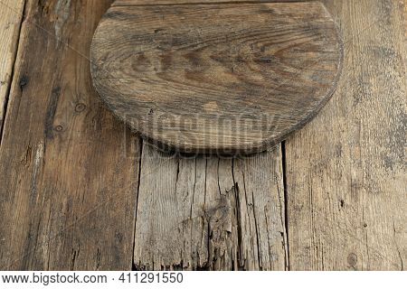 Wooden Tray On A Wooden Background. Boards. Light Brown Board