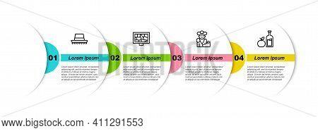 Set Line Spanish Hat, Picture Art, Bullfight, Matador And Apple Cider Bottle. Business Infographic T