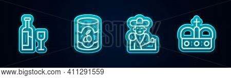 Set Line Wine Bottle With Glass, Olives Can, Bullfight, Matador And Crown Of Spain. Glowing Neon Ico