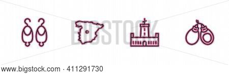 Set Line Earrings, Montjuic Castle, Map Of Spain And Castanets Icon. Vector
