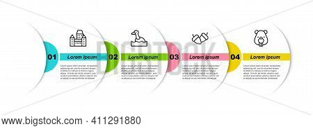 Set Line Chateau Frontenac Hotel, Flying Duck, Acorn And Beaver Animal. Business Infographic Templat
