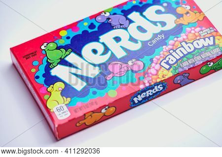Mainz, Germany - March 06, 2021: Rainbow Nerds Lying On A White Background. Rainbow Nerds Brand Is A