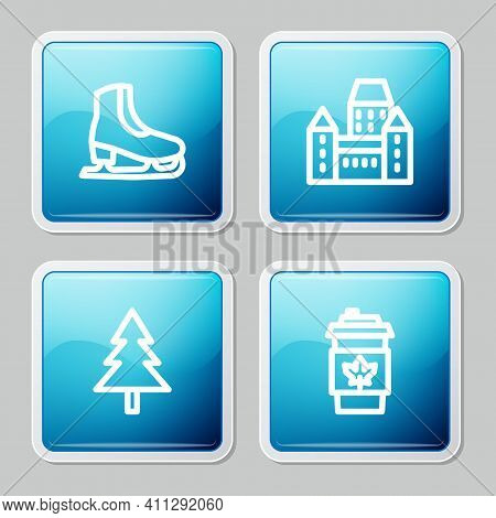 Set Line Skates, Chateau Frontenac Hotel, Christmas Tree And Coffee Cup To Go Icon. Vector