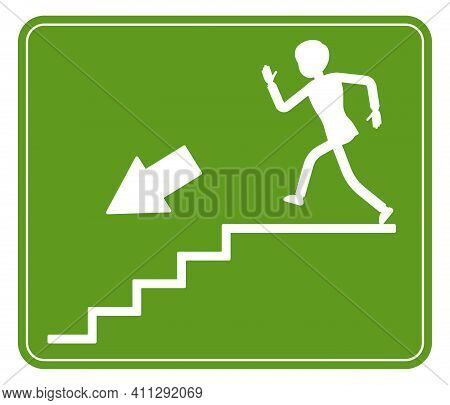 Emergency Down Stairs Exit Sign, Green Safety Evacuation Indicator. Running Man Pictorial Internatio