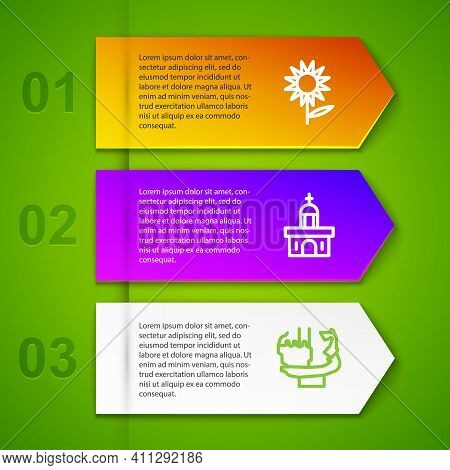 Set Line Sunflower, Church Building And Monument To Founders Of Kiev. Business Infographic Template.