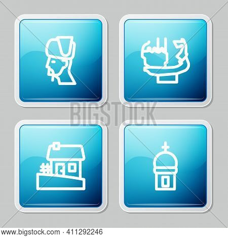 Set Line Ukrainian Cossack, Monument To Founders Of Kiev, House And Church Tower Icon. Vector