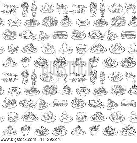 Fast food pattern, black and white hand drawn food symbols, rasterized version