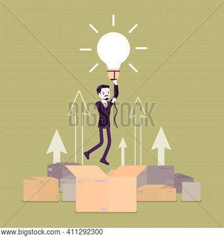 Think Outside The Box, Bright Creative Man. Original Male Person Rising Up High With Lamp Bulb, Meta