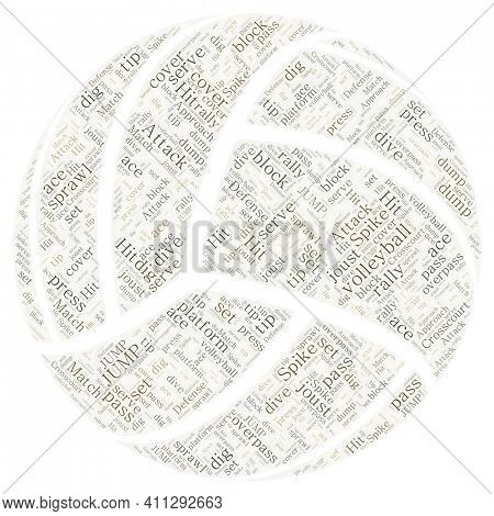 Volleyball Made of Volleyball Terms in Greens and Browns on White