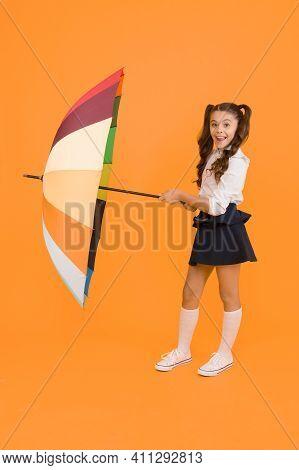 Fall Weather Forecast. Fashion Accessory. Umbrella Protective Shield. Girl With Umbrella. Rainy Day