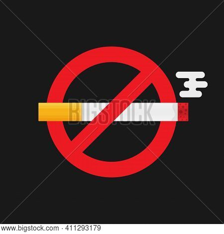No Smoking Icon. No Smoking Sign In Flat Style On Dark Background Vector Eps 10