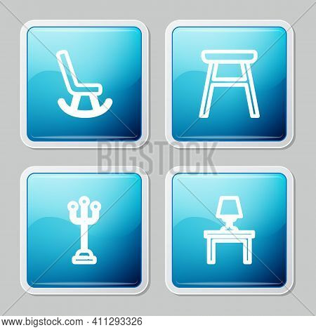 Set Line Armchair, Chair, Coat Stand And Table Lamp On Table Icon. Vector