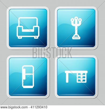Set Line Armchair, Coat Stand, Refrigerator And Office Desk Icon. Vector