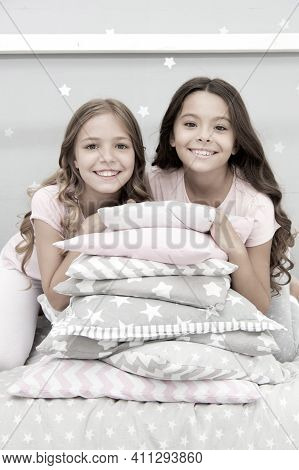 Girls Best Friends Gather In Bedroom For Slumber Party. Domestic Party For Kids. Girls Near Pile Pil