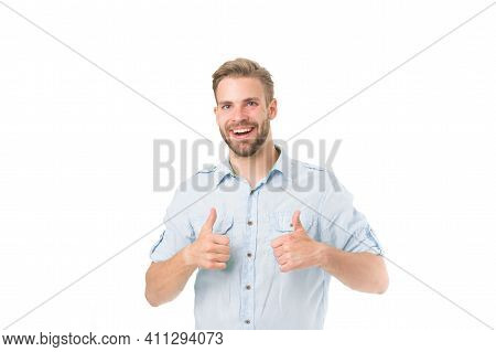 Highly Recommend. Guy Shows Thumbs Up Gesture. Man Confidently Highly Recommend White Background. Gu
